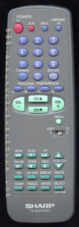 SHARP G1517SB TV/VCR Combo Remote Control