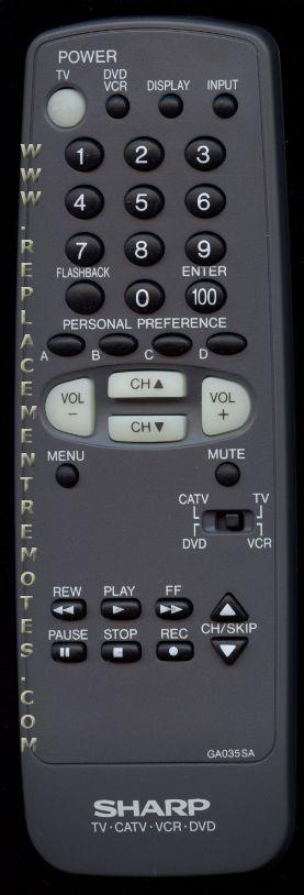 SHARP GA035SA TV Remote Control