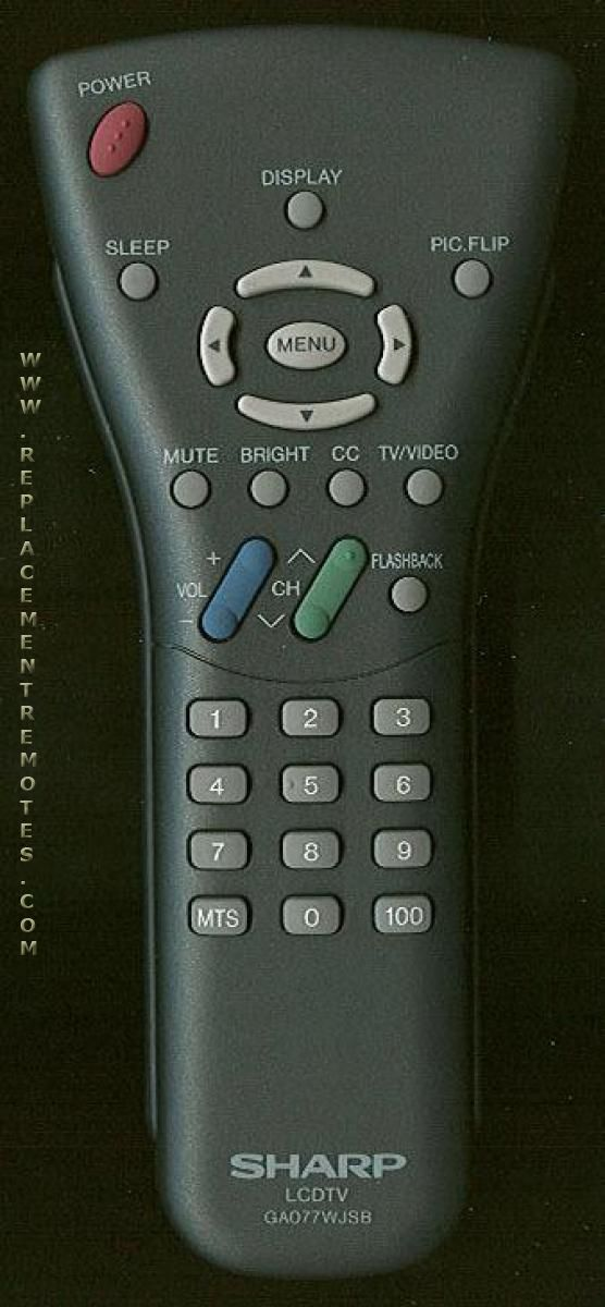 SHARP GA077WJSB TV Remote Control