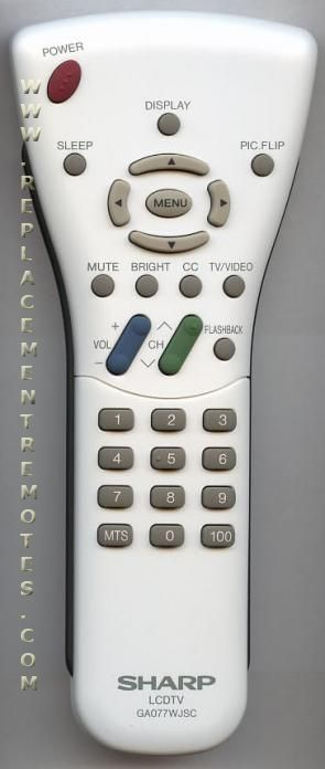 SHARP GA077WJSC TV Remote Control