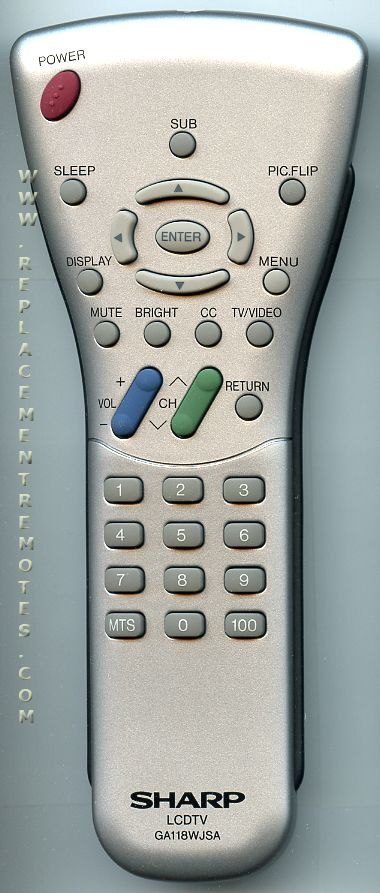 SHARP GA118WJSA TV Remote Control