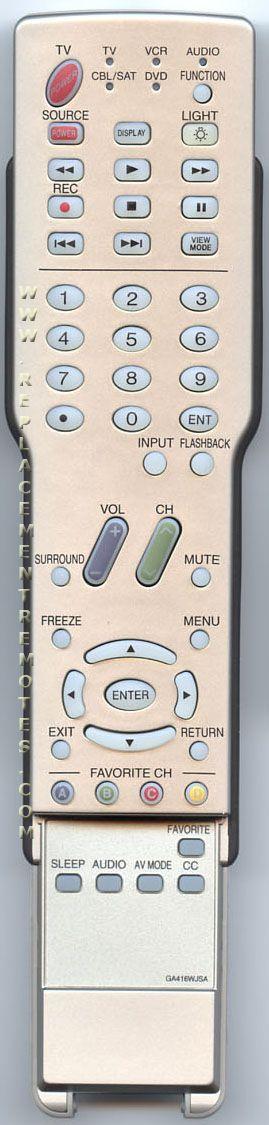 SHARP GA416WJSA TV Remote Control