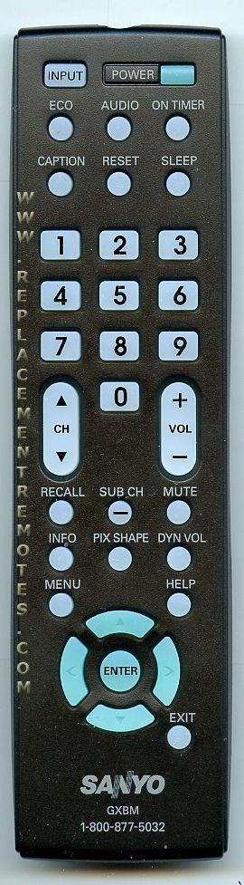 SANYO GXBM TV Remote Control