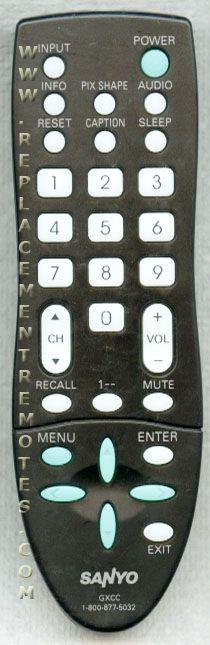 SANYO GXCC TV Remote Control