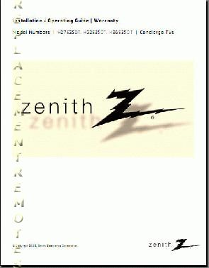 ZENITH H27E35DTOM Operating Manual