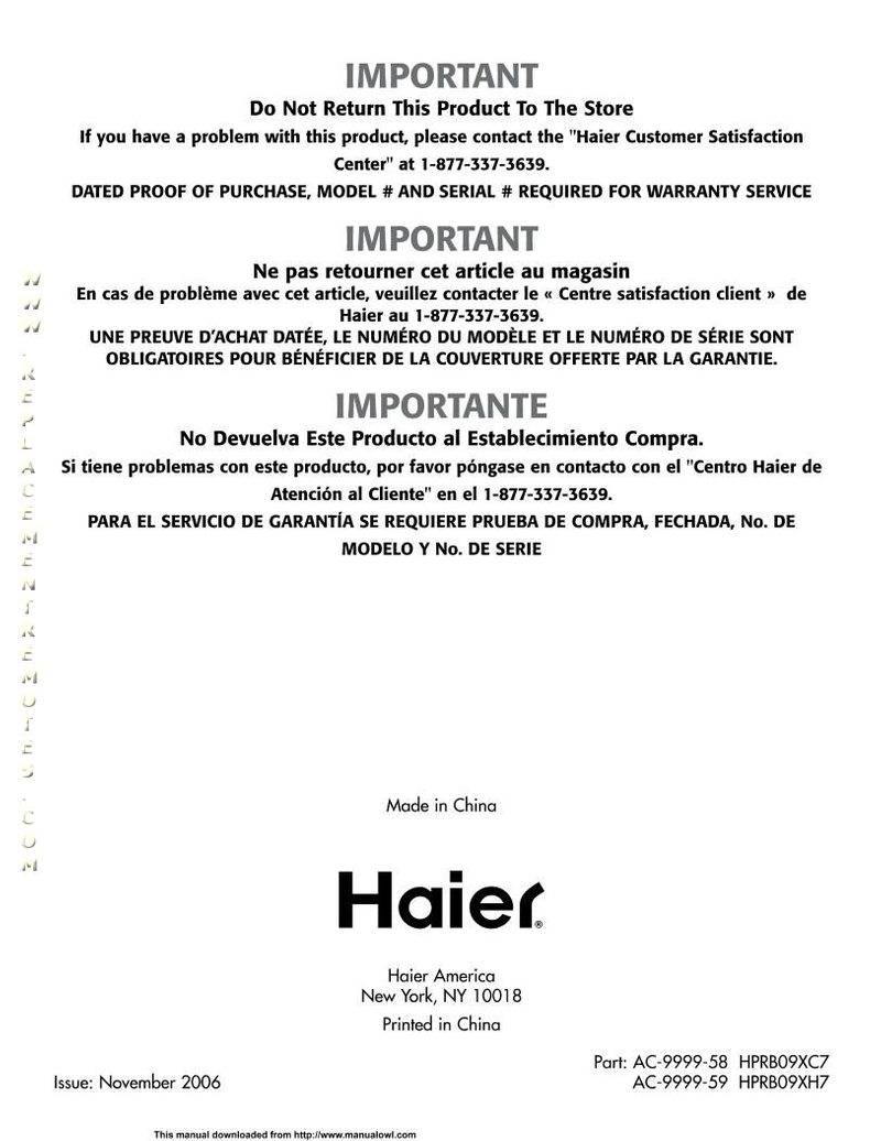 Haier HPR09XC7OM Operating Manual