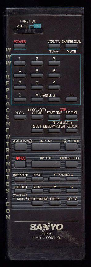SANYO IR9670 VCR Remote Control