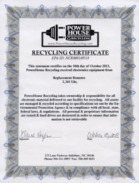 replacement remotes recycling certificate 2