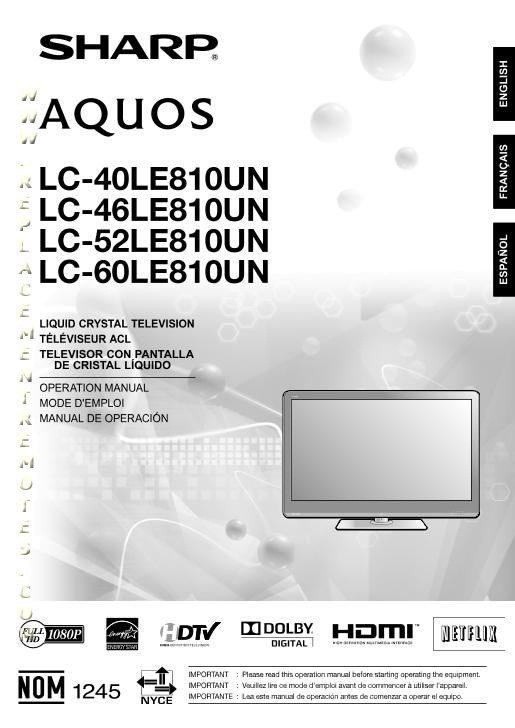 Buy SHARP LC40LE810OM LC40LE810UN LC46LE810UN LC52LE810UN Operating Manual