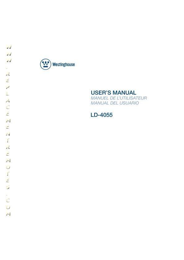 Westinghouse LD4055OM Operating Manual