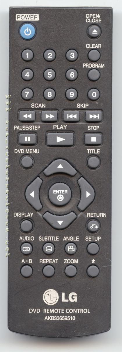 LG AKB33659510 DVD Player Remote Control