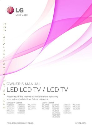 LG LG LCDandLEDOM Operating Manual