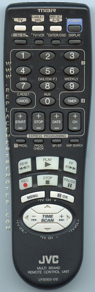 JVC LP20303012 VCR Remote Control