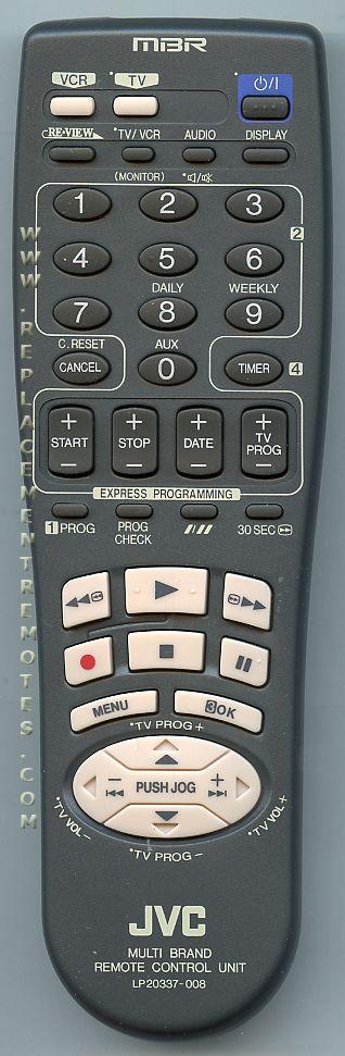 JVC LP20337008 VCR Remote Control