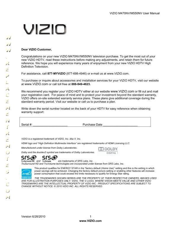 buy vizio m550nv m470nvom m470nv m550nv operating manual rh replacementremotes com vizio m370nv manual Vizio M470NV 55-Inch TV