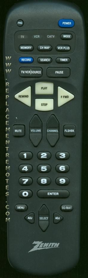 ZENITH MBR3370 VCR Remote Control