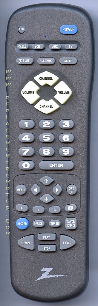 ZENITH MBR3447Z Remote Control