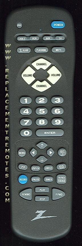 ZENITH MBR3458Z TV Remote Control