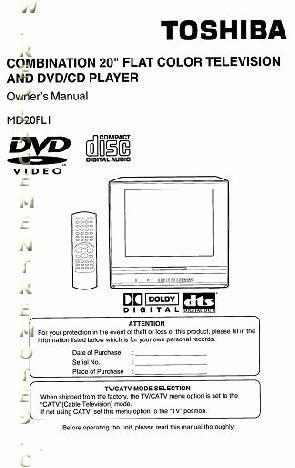 TOSHIBA MD20FL1OM Operating Manual
