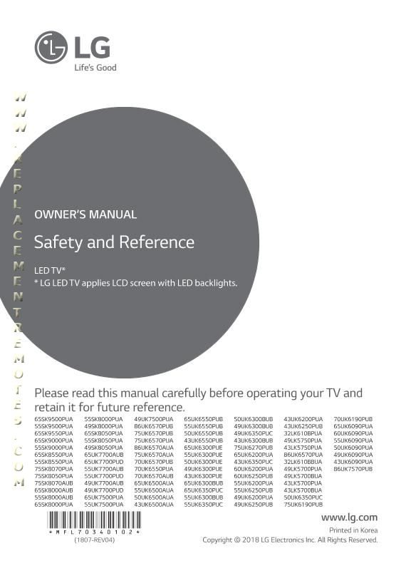 LG 75UK6570OM Operating Manual