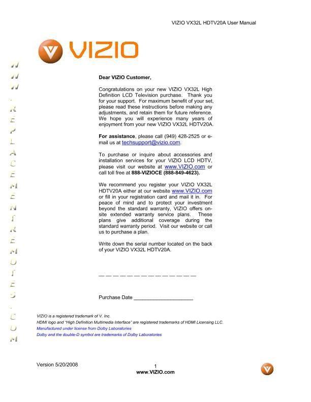 download free vizio vx32lhdtv10aom vx32l vx32lhdtv10a operating manual rh replacementremotes com Vizio 32 HDTV Vizio 32 HDTV