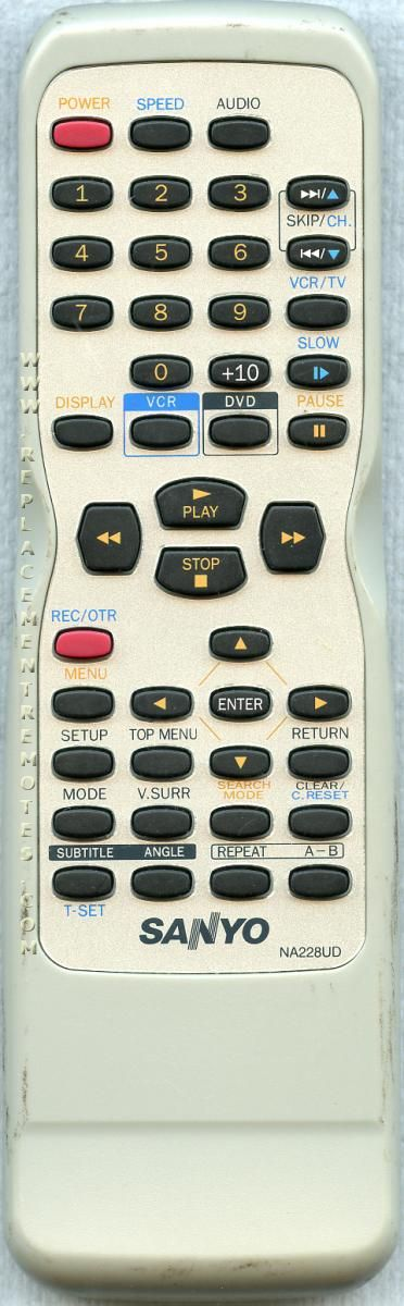 SANYO NA228UD DVD/VCR Combo Player Remote Control