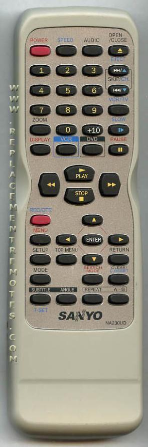SANYO NA230UD TV/DVD Combo Remote Control