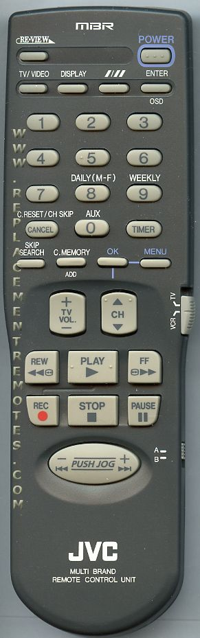 JVC PQ21760L VCR Remote Control