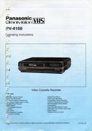 Panasonic PV4168OM Operating Manual