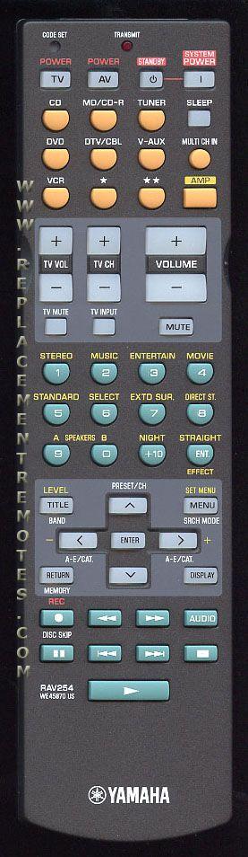 YAMAHA RAV254 Audio/Video Receiver Remote Control
