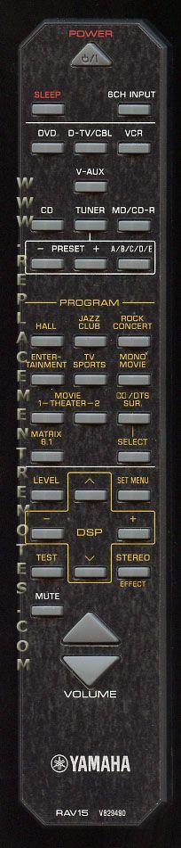 YAMAHA RAV15 Audio/Video Receiver Remote Control