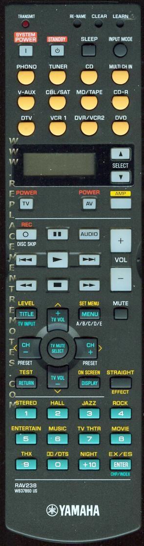 YAMAHA RAV238 Audio/Video Receiver Remote Control