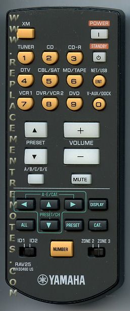YAMAHA RAV25 Audio/Video Receiver Remote Control