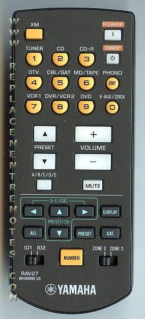 YAMAHA RAV27 Audio/Video Receiver Remote Control