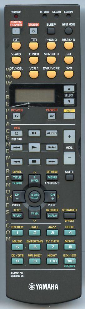 YAMAHA RAV270 Audio/Video Receiver Remote Control