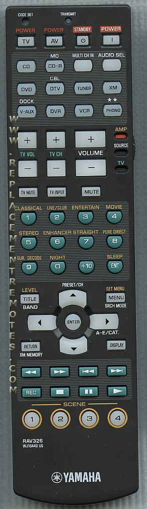 YAMAHA RAV326 Audio/Video Receiver Remote Control