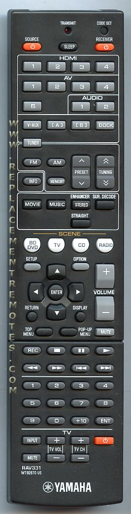 YAMAHA RAV331 Audio/Video Receiver Remote Control