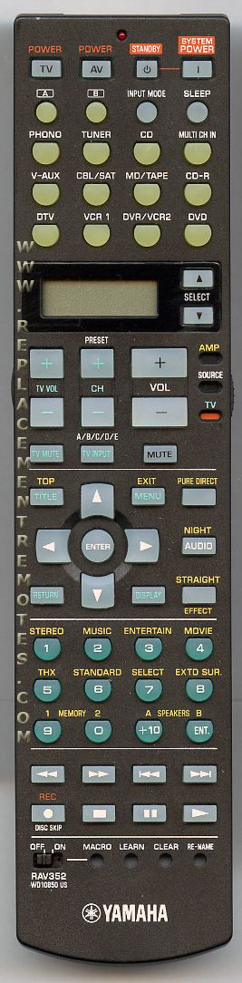 YAMAHA RAV352 Audio/Video Receiver Remote Control