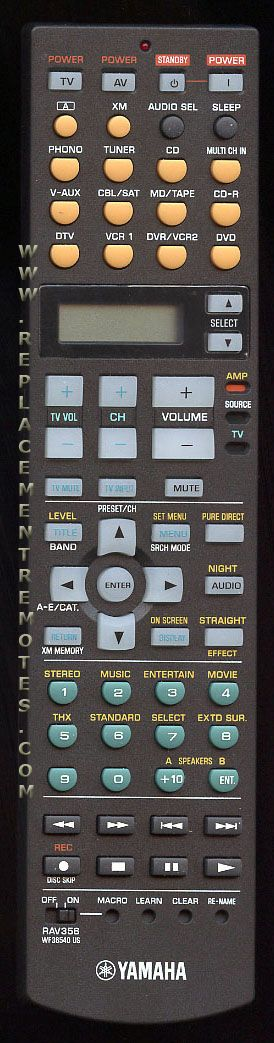 YAMAHA RAV356 Audio/Video Receiver Remote Control