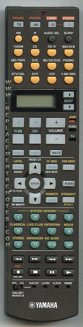 YAMAHA RAV367 Audio/Video Receiver Remote Control