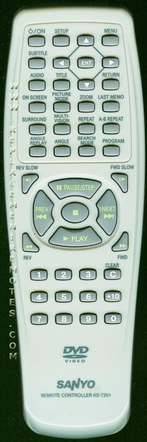 SANYO RB7201 DVD Player Remote Control