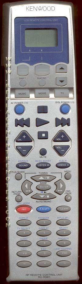 KENWOOD RCR0810 Audio System Remote Control