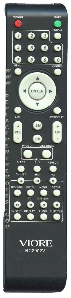 VIORE RC2002V TV Remote Control