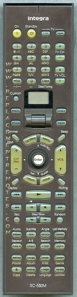 INTEGRA RC550M Audio/Video Receiver Remote Control