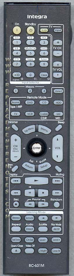 INTEGRA RC631M Audio/Video Receiver Remote Control