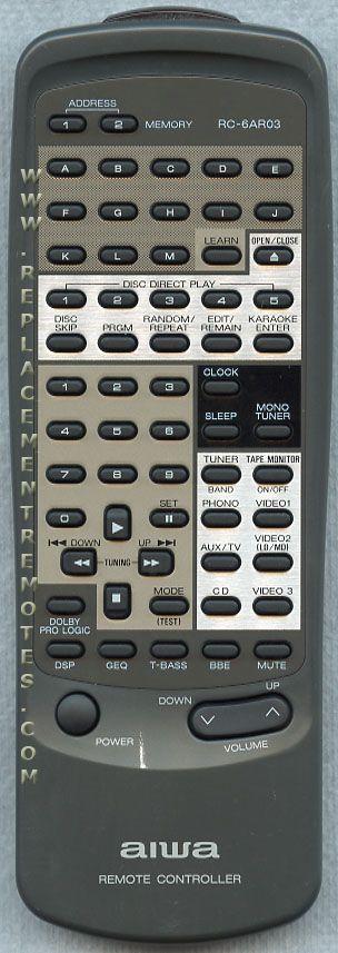 AIWA RC6AR03 Audio System Remote Control