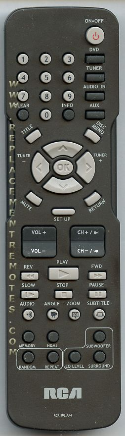 RCA RCR192AA4 Home Theater System Remote Control
