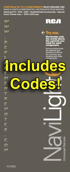Rcr660 Remote Codes