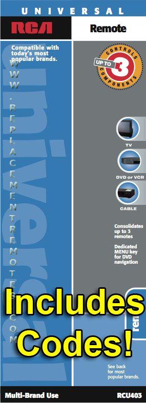RCA RCU403 and CodesOM Operating Manual