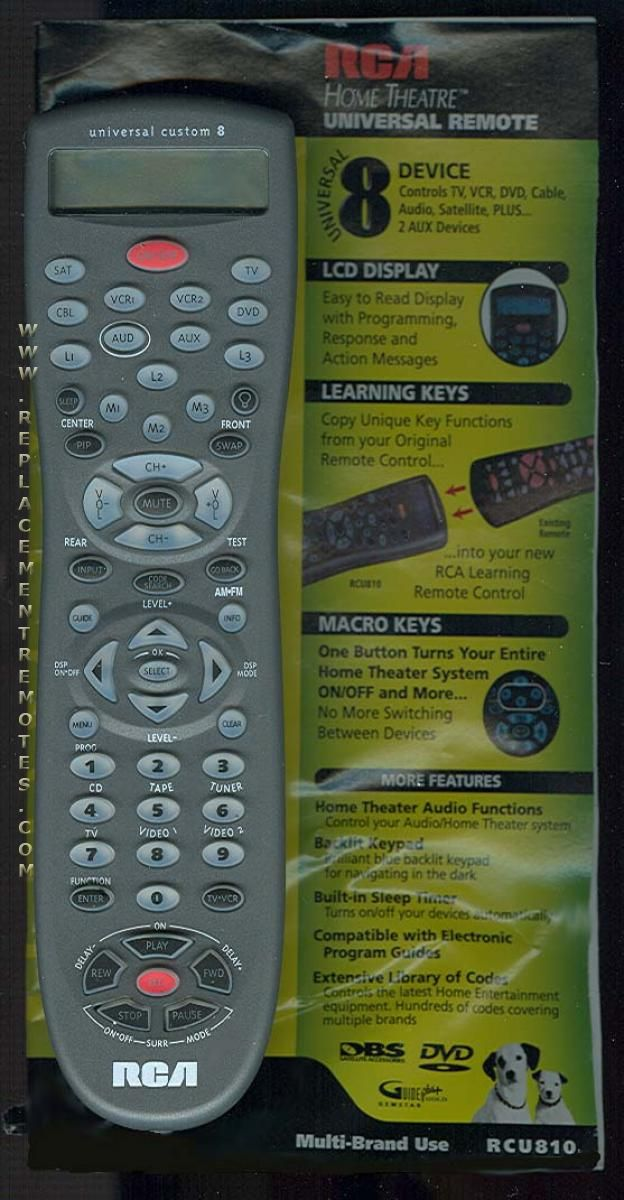 RCA RCU810 8-Device Universal Remote Control